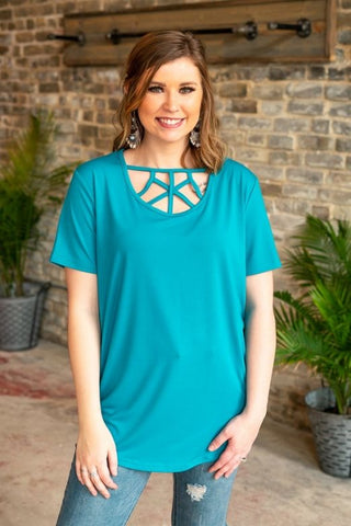 Woman's Turquoise Criss-Cross Top