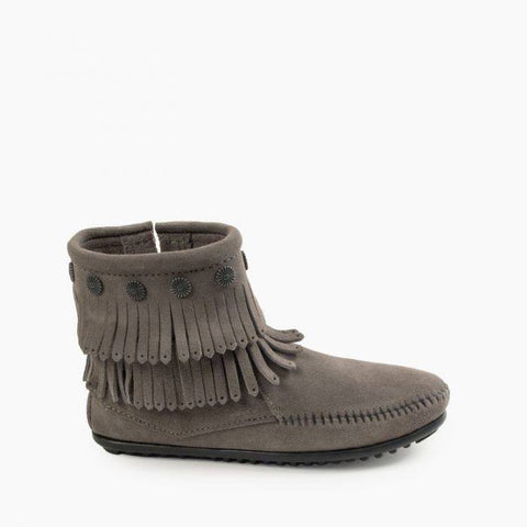 Minnetonka Women's Double Fringe Side Zip Grey