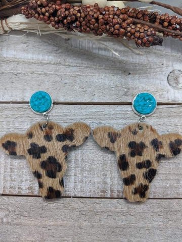 Teal Sparkle Post with Leopard Cowhide Cattle Head Dangle Leather Earring