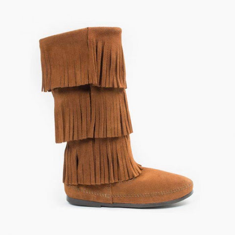 Minnetonka Women's 3 Layer Fringe Boot Brown
