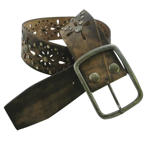 Roper Women's Brown Floral Cutout Belt