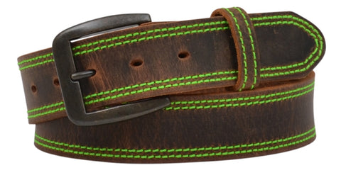 3D Men's Distressed Brown with Hot Green Stitching