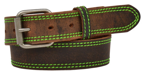 3D Distressed Brown Belt with Neon Green