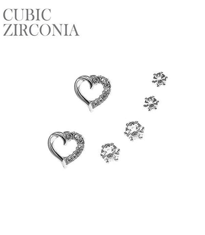 CZ Mini Heart Set Stud Earrings