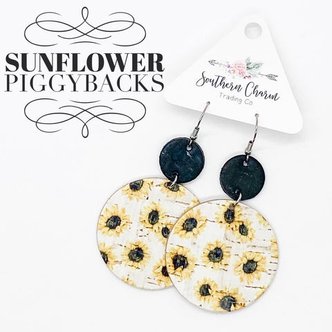 Black and Sunflower Print Stacked Dangle Earrings