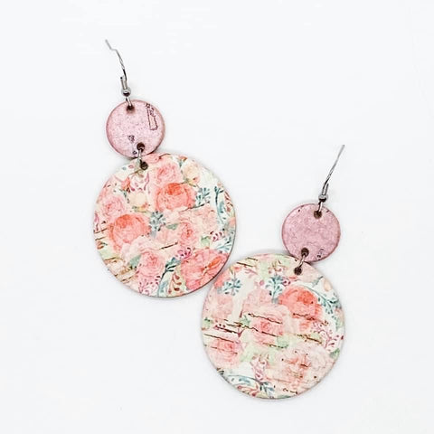 Pink Stacked Circular Floral Dangle Leather Earrings