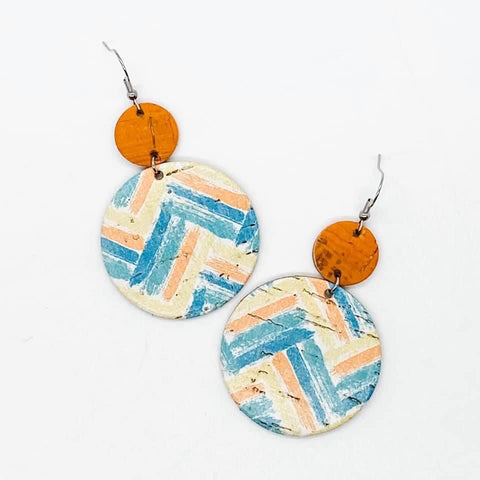 Orange and Multicolor Chevron Stacked Circular Leather Dangle Earrings