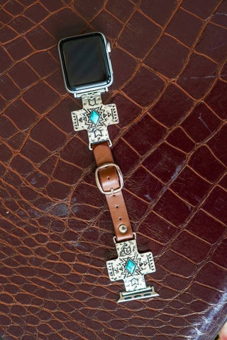 VINTAGE SILVER CROSS AZTEC BROWN LEATHER SMART WATCH BAND