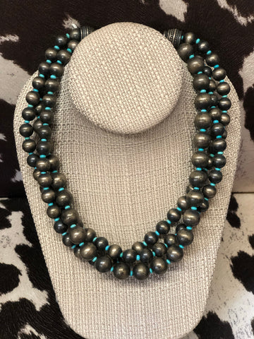 Vintage/Dead Pawn 3 Strand Navajo Pearls with Turquoise