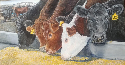 Feed Bunk Buffet-Original Print by CJ Brown