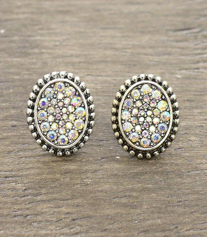 Rhinestone Oval Stud Earrings