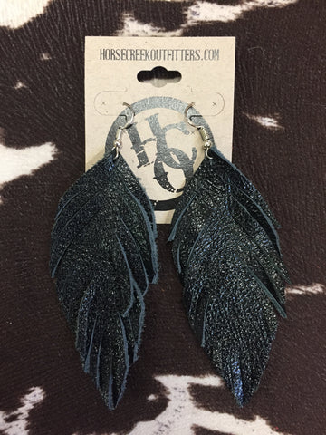 Black Fringe Leather Feather Dangle Earrings