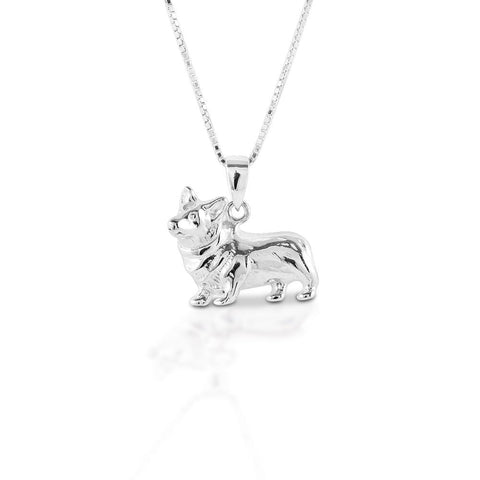 Kelly Herd Small Corgi Necklace - Sterling Silver SKU: SP102100-SS