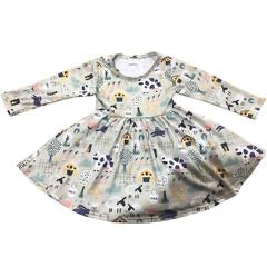 Girls Comfy Cute Grey Farm Friends Twirl Dress