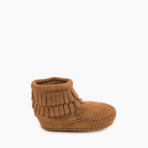Minnetonka Infant Double Fringe Bootie Taupe