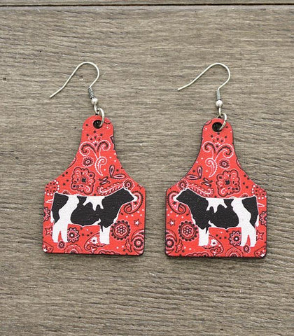 Cow Tag Wood Dangle Earrings