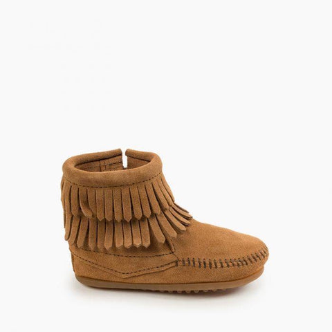 Minnetonka Children's Double Fringe Side Zip Bootie Taupe