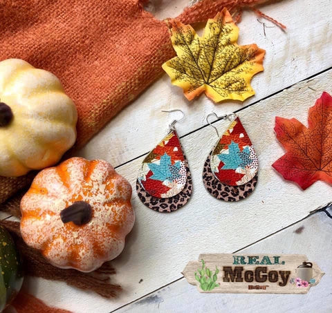 Fall Leaves & Leopard Leather Earrings