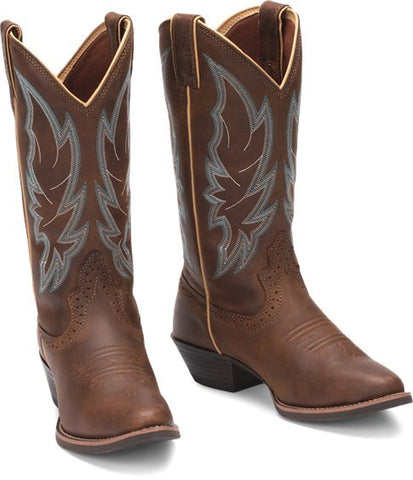 "Justin Stampede Women's 12"" Calimero boot in Chocolate"