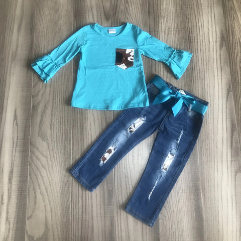 Girls Teal Cowhide Ruffle Sleeve Denim Outfit