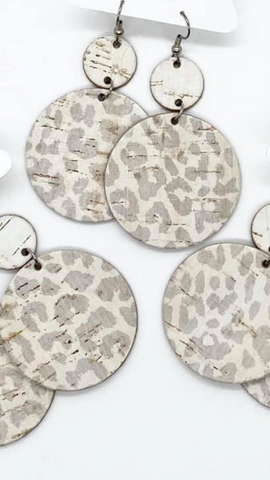 White Stacked Circular Leopard Dangle Leather Earrings