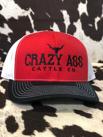 Crazy Ass Red and Black Trucker Top Hand Hat