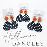 Orange and Black Polka Dot Dangle Earings