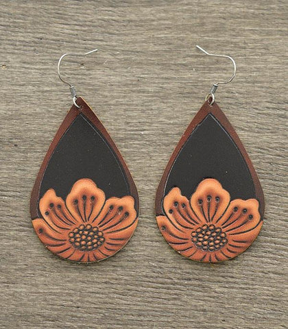 Leather Tooled Floral Teardrop Earrings