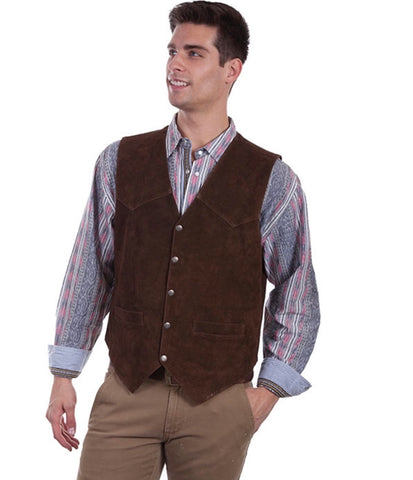 Scully Mens Brown Calf Suede Western Snap Vest