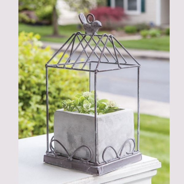 Metal Birdcage with Cement Planter