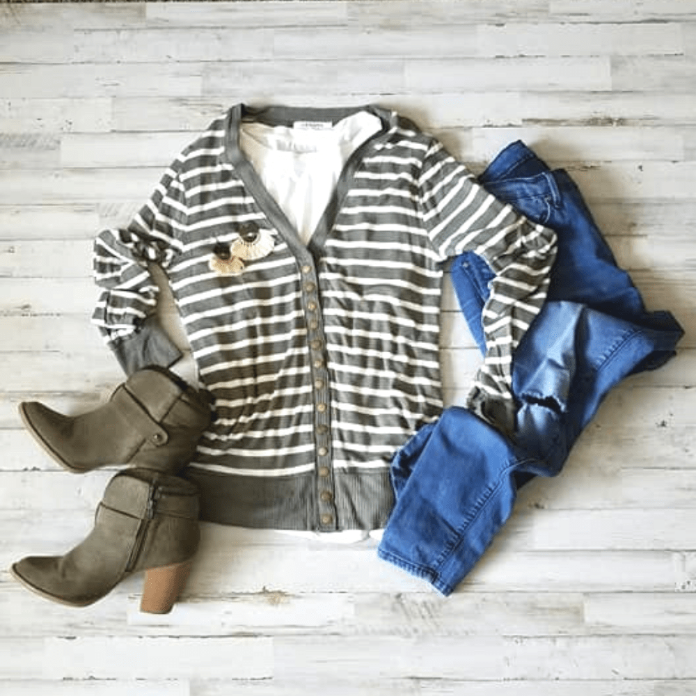 Striped Snap-Button Cardigan