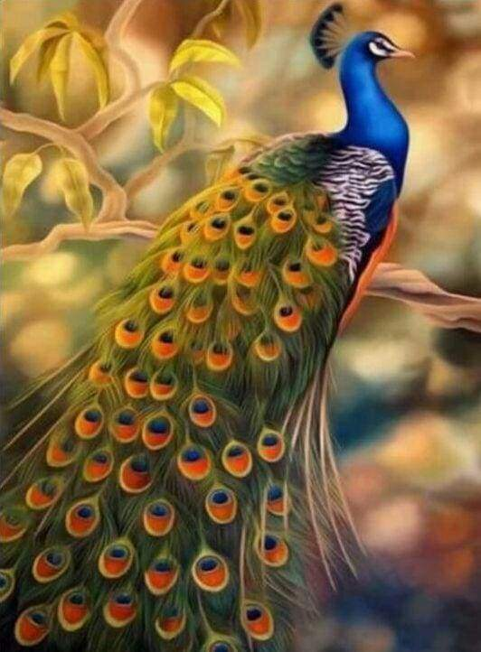 Diamond Painting, Blauer Pfau