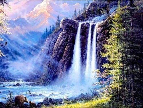Diamond Painting, Berg Wasserfall