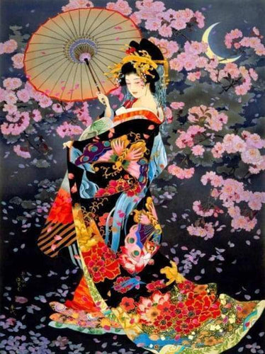 Diamond Painting, Traditionelle asiatische Frau