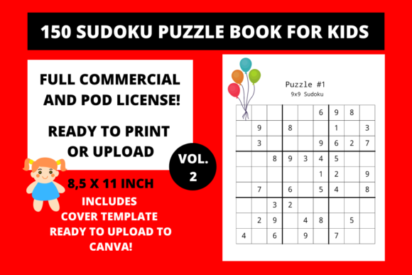 KDP 150 Sudoku Puzzle Book for Kids Vol.2 -Commercial Use Licence - Instant Download - KDP Kindle Direct Publishing Ready To Upload