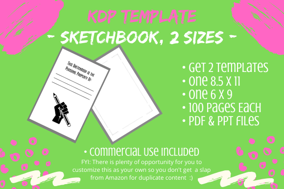 KDP Template - 2 Sketchbooks, 2 Sizes Graphic