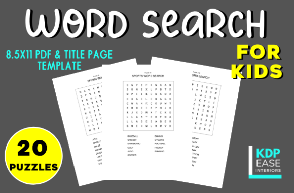 Word Search Puzzles for Kids Print Ready