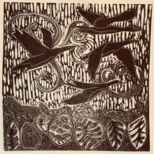 Load image into Gallery viewer, linocut print on recycled linen depicting Brent Geese in Ireland