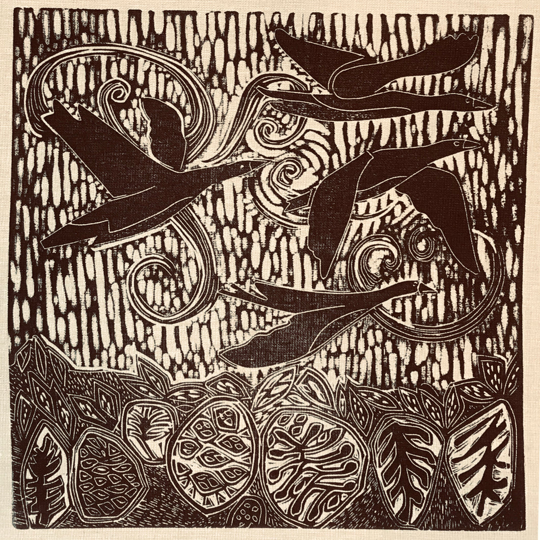 linocut print on recycled linen depicting Brent Geese in Ireland