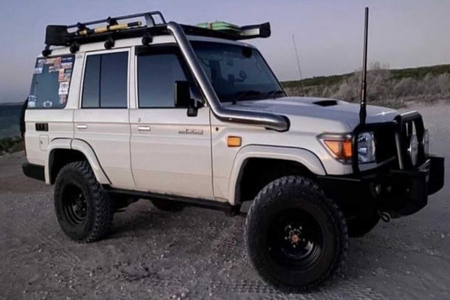 76 Series Landcruiser 4 inch exhaust and snorkel. JMK Industries JMK-Industries.com
