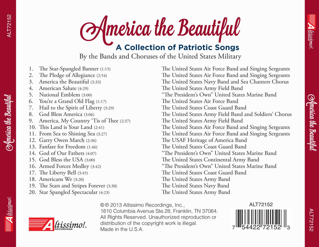 america the beautiful a collection of patriotic songs - Patriotic Songs
