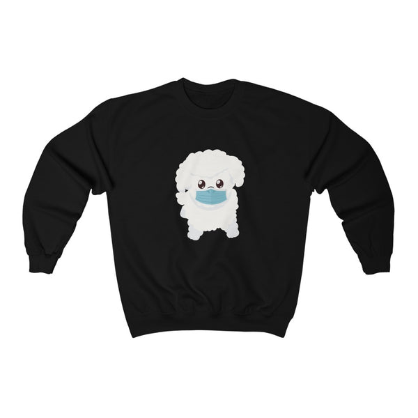 Stay Safe with Gio The Worldly Dog wearing a mask!  Unisex Heavy Blend™ Crewneck Sweatshirt