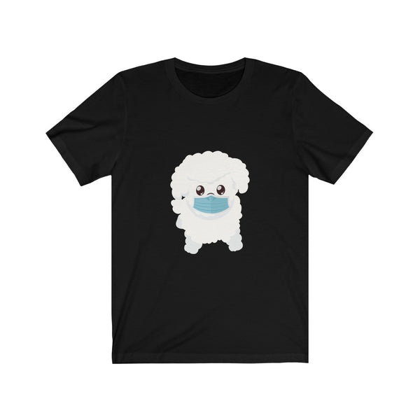 Stay Safe with Gio The Worldly Dog wearing a mask! Adult Unisex Jersey Short Sleeve Tee
