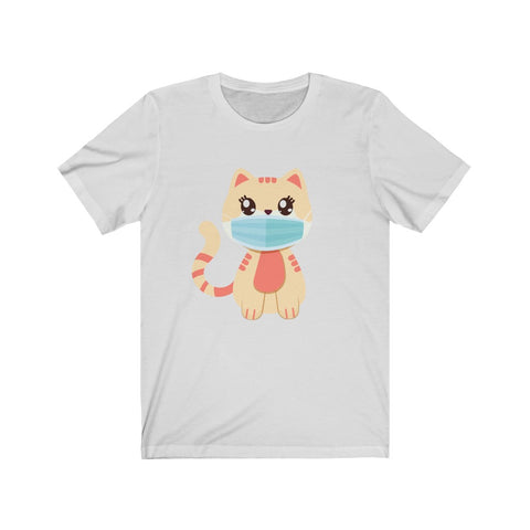 Stay Safe with Kitty O. Mail wearing a mask! Adult Unisex Jersey Short Sleeve Tee