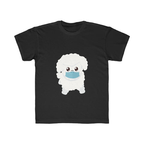 Stay Safe with Gio The Worldly Dog wearing a mask! Kids Regular Fit Tee
