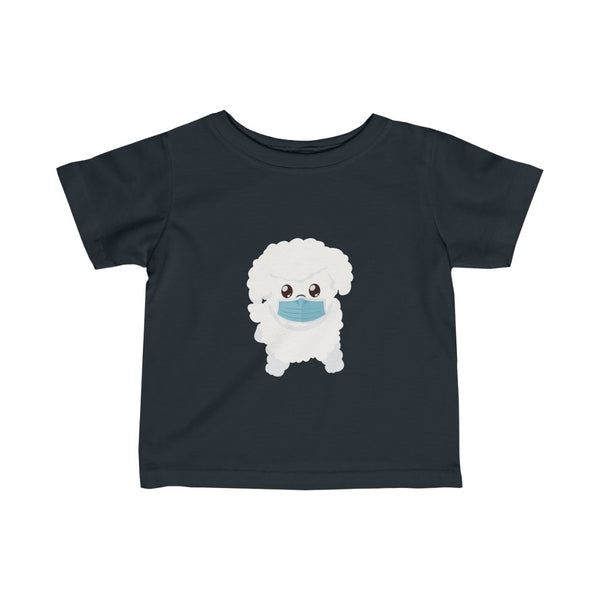 Stay Safe with Gio The Worldly Dog wearing a mask! Infant Fine Jersey Tee