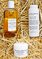 Natural Baby Herbal Oil, Salve and Powder Set - 6 fl oz Baby Oil-2 oz Salve - 4 oz Baby Powder, Baby Shower Gift