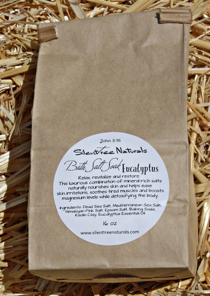 Bath Salt Soak - Eucalyptus - Natural Skincare, Detox, Invigorating, All Natural, Magnesium-Rich Salts, 1 lb