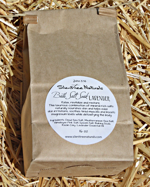 Bath Salt Soak - Lavender - Natural Skincare, Detox, Calming, Relaxing, All Natural, Magnesium-Rich Salts, 1 lb