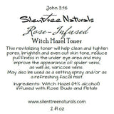 Rose-Infused Witch Hazel Toner - Natural Skincare, Setting Spray, Natural Astringent, Acne, Spider Veins